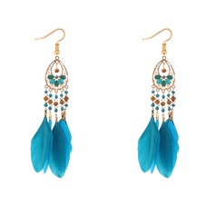 Brillant Alliage Feather Boucles d'oreille de mode