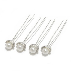 Charming Alloy/Imitation Pearls Hairpins With Czech Stones (Set of 4) (042055967)