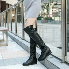 Women's PU Wedge Heel Boots Over The Knee Boots With Zipper shoes