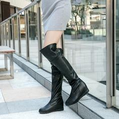 Femmes PU Talon compensé Bottes Cuissardes avec Zip chaussures
