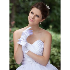 Elastische Satin Wrist Lengte Bruids Handschoenen