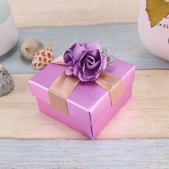 Flower Design Cuboid Favor Boxes With Flowers/Ribbons