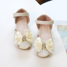 Girl's Round Toe Closed Toe Microfiber Leather Flats Sneakers & Athletic Flower Girl Shoes With Bowknot Velcro