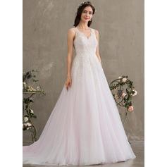プリンセスライン Vネック コート・トレーン チュール ウエディングドレス とともに ビーズ スパンコール