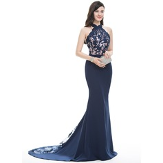 Trumpet/Mermaid Halter Court Train Satin Evening Dress