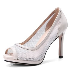 Women's Mesh Spool Heel Peep Toe Pumps