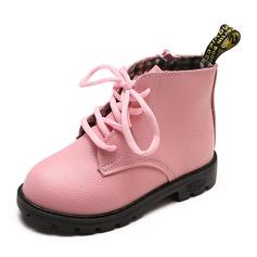 Ragazze Punta rotonda Punta chiusa Stivali alla caviglia finta pelle Heel piatto Ballerine Stivali Scarpe Flower Girl
