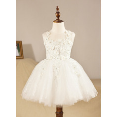 Ball Gown Knee-length Flower Girl Dress - Tulle Sleeveless Scoop Neck With Appliques (010094588)