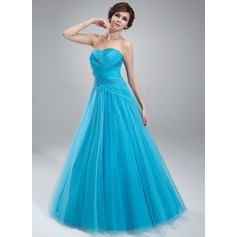 Duchesse-Linie Herzausschnitt Bodenlang Tüll Quinceañera Kleid (Kleid für die Geburtstagsfeier) mit Rüschen Perlen verziert