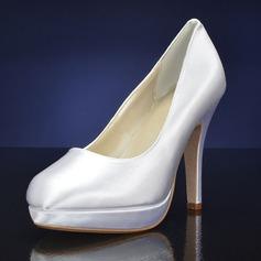 Женщины шелка как атласное Высокий тонкий каблук Платформа На каблуках
