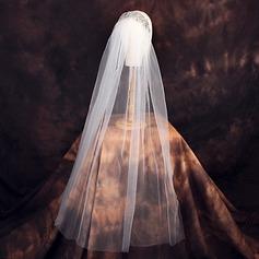 Een-rij Gesneden Rand Elleboog Bruids Sluiers met Steentjes
