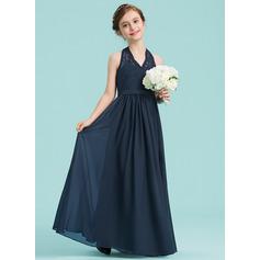 Vestidos princesa/ Formato A Cabresto Longos Tecido de seda Vestido de daminha júnior