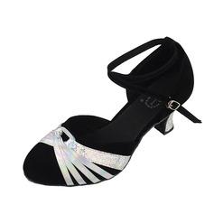 Mulheres Couro Camurça Saltos Bombas Salão de Baile com Correia de Calcanhar Sapatos de dança