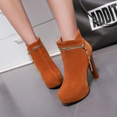 Women's Suede Stiletto Heel Boots Mid-Calf Boots With Zipper Chain shoes