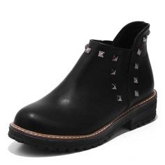 Vrouwen Kunstleer Low Heel Laarzen met Klinknagel schoenen