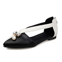 Women's Leatherette Flat Heel Flats Closed Toe With Rhinestone Imitation Pearl shoes