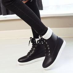 Kvinnor Konstläder Flat Heel Platta Skor / Fritidsskor Stövlar Boots med Bandage skor
