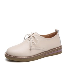 Women's PU Flat Heel Flats Closed Toe With Lace-up shoes (086149311)