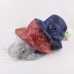 Senhoras Bonito/Elegante/Vintage Organza de com Flor de seda Chapéu de Coco / Cloche de Chapéu