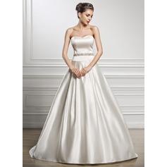 A-linjeformat Hjärtformad Court släp Satäng Bröllopsklänning med Pärlbrodering Paljetter