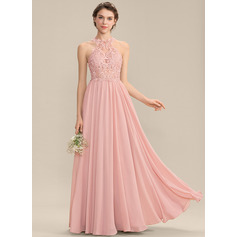 A-Line Scoop Neck Sweep Train Chiffon Lace Bridesmaid Dress With Sequins (007176739)