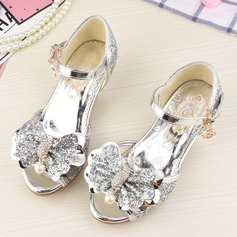 Girl's Peep Toe Sparkling Glitter Low Heel Sandals Flower Girl Shoes With Bowknot