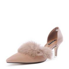 Femmes PU Talon stiletto Escarpins Bout fermé avec Fourrure chaussures
