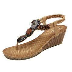 De mujer Cuero Tipo de tacón Sandalias con Cuentas zapatos