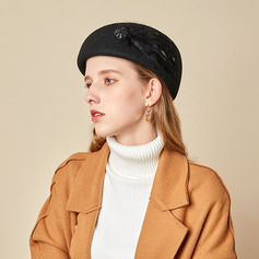 Dames Beau/Simple/Jolie Coton avec Feather Béret Chapeau
