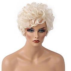 4A Ej remy Curly Mänskligt hår Capless peruker