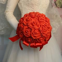 Redondo Flores Artificiales Ramos de novia (vendido en una sola pieza) - Ramos de novia