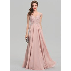A-Line V-neck Floor-Length Chiffon Evening Dress With Beading Sequins (017137359)