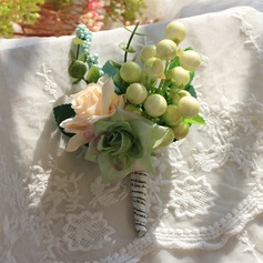 Charming Satin/Silk/Emulational Berries Boutonniere -