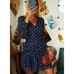 PolkaDot A-line Lantern Sleeve Long Sleeves Mini Casual Skater Dresses (294253697)