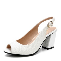 Women's Leatherette Chunky Heel Sandals Pumps Peep Toe With Imitation Pearl Others Braided Strap Split Joint shoes