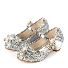 Girl's Round Toe Closed Toe Sparkling Glitter Low Heel Flower Girl Shoes With Bowknot (207163348)