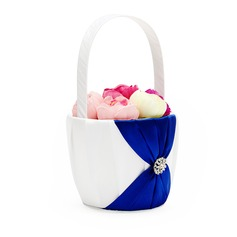 Pretty Flower Basket in Satin With Rhinestones/Sash (102049622)