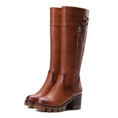De mujer Tela Tacón ancho Botas longitud media con Hebilla Cremallera zapatos