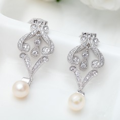 Luxurious Copper/Zircon/Platinum Plated With Imitation Pearls Women's/Ladies' Earrings