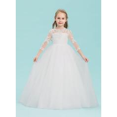 Ball-Gown/Princess Floor-length Flower Girl Dress - Tulle 3/4 Sleeves Scoop Neck