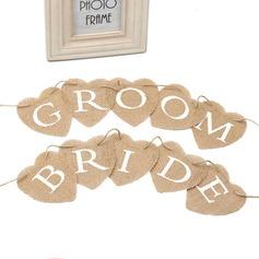 Bride and Groom Hemp Rope/Linen Banner (10 Pieces)