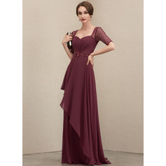 A-Line Sweetheart Floor-Length Chiffon Mother of the Bride Dress With Beading Sequins Cascading Ruffles