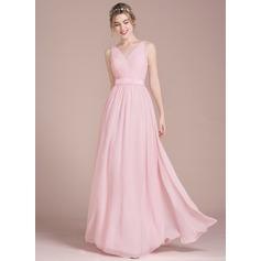 Vestidos princesa/ Formato A Decote V Longos Tecido de seda Vestido de madrinha com Pregueado Curvado