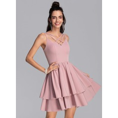 A-Line V-neck Short/Mini Stretch Crepe Homecoming Dress With Cascading Ruffles (022206507)