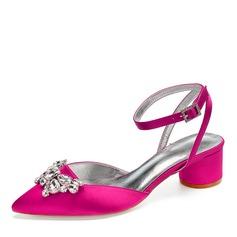 Women's Silk Like Satin Chunky Heel Closed Toe Sandals Slingbacks With Bowknot Rhinestone