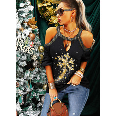 Print Sequins Cold Shoulder Long Sleeves Casual Christmas Blouses (1003254673)