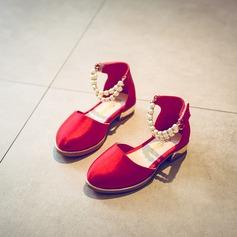 A menina de Cetim Heel plana Fechados Sem salto com Pérola Imitação Velcro