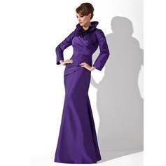 Trompete/Meerjungfrau-Linie Stehkragen Bodenlang Taft Kleid für die Brautmutter mit Rüschen