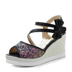 Vrouwen Suede Sprankelende Glitter Wedge Heel Sandalen Pumps Wedges Peep Toe Slingbacks met strik Sprankelende Glitter schoenen