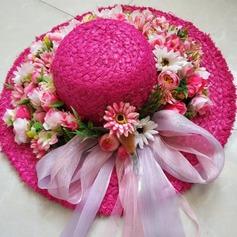 Señoras' Hecha a mano/Llamativo Rafia paja/Flores de seda con Flores de seda Sombreros Playa / Sol/Sombreros Tea Party